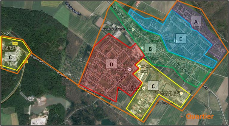 ageplan der einzelnen Wohn- und Gewerbegebiete in Duingen